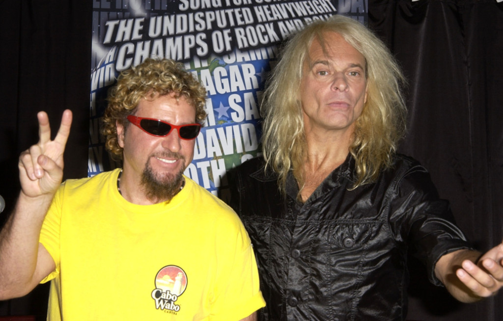 Sammy Hagar & David Lee Roth during Sammy Hagar & David Lee Roth Tour 2002:Song For Song,The Heavyweight Champs Of Rock 'N Roll at Sky Bar in Los Angeles, California, United States. (Photo by SGranitz/WireImage)