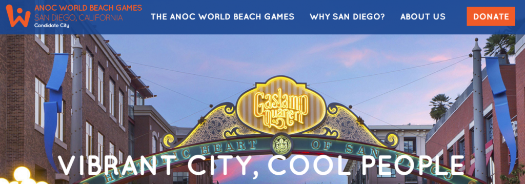 San Diego's website showcasing its bid for the 2017 ANOC World Beach Games