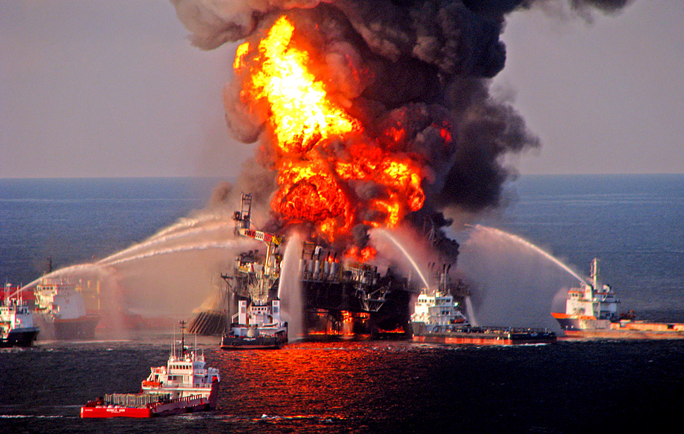 The Deepwater Horizon burns in the Gulf of Mexico, 52 miles southeast of Venice, La. on April 21, 2010.