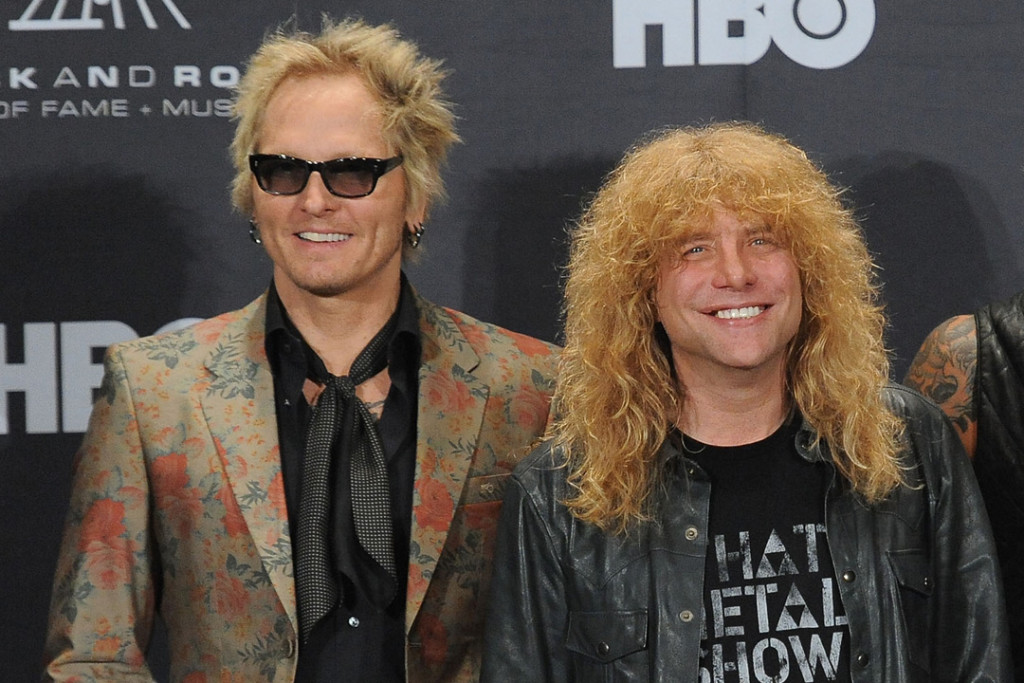 CLEVELAND, OH - APRIL 14:  Inductees (L-R) Matt Sorum, Steven Adler, Duff McKagan and Slash of Guns N' Roses pose in the press room during the 27th Annual Rock And Roll Hall of Fame Induction Ceremony at Public Hall on April 14, 2012 in Cleveland, Ohio.  (Photo by Mike Coppola/Getty Images)