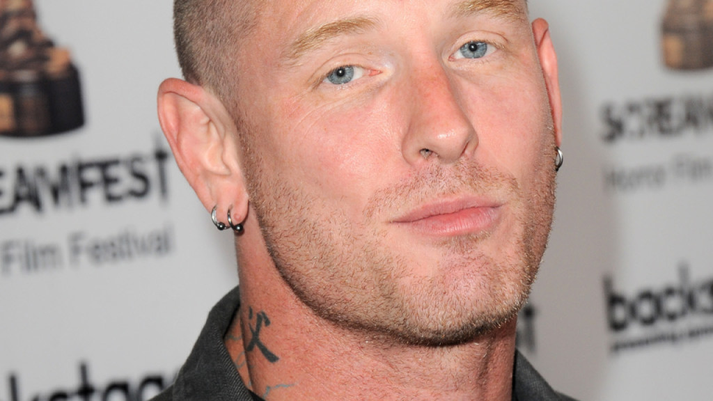 "HOLLYWOOD, CA - OCTOBER 22: Actor/musician Corey Taylor of Slipnot arrives for the ""Fear Clinic"" Premiere Screening And Q&A as part of 2014 ScreamFest held at TCL Chinese 6 Theatres on October 22, 2014 in Hollywood, California. (Photo by Albert L. Ortega/Getty Images)"