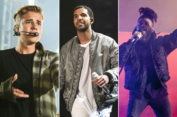 drake justin-bieber-drake-the-weeknd-performance-2015-split