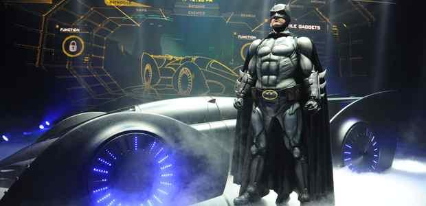 Batman (Sam Heughen) with the Batman Live Batmobile