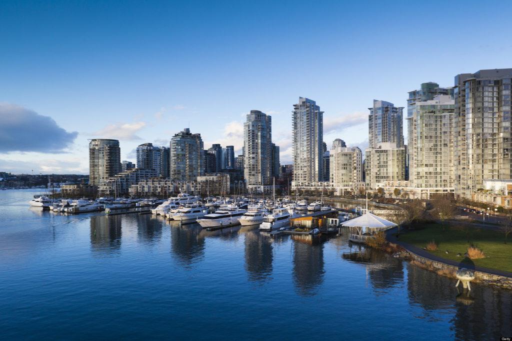 Canada, British Columbia, Vancouver, Buildings along False Creek