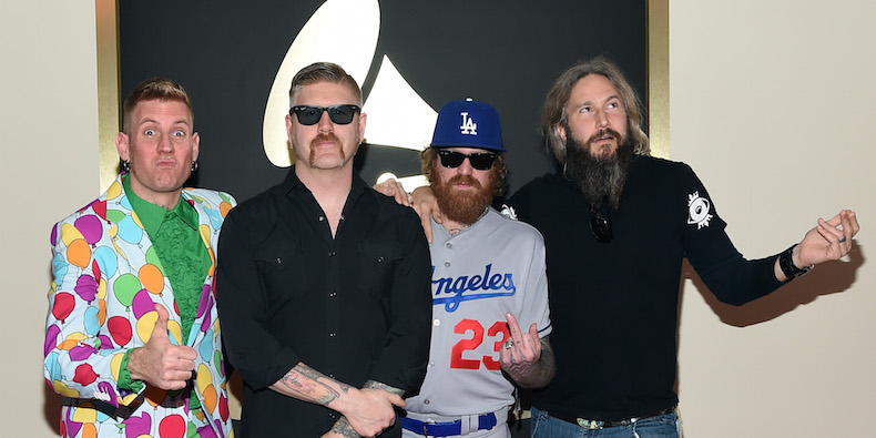 LOS ANGELES, CA - FEBRUARY 08: Members of Mastodon (L-R) Brann Dailor, Bill Kelliher, Brent Hinds and Troy Sanders attend The 57th Annual GRAMMY Awards at the STAPLES Center on February 8, 2015 in Los Angeles, California. (Photo by Larry Busacca/Getty Images for NARAS)